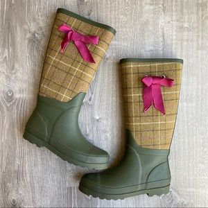 J. Crew Olive Green Rubber Boots Tan Plaid & Bow 7